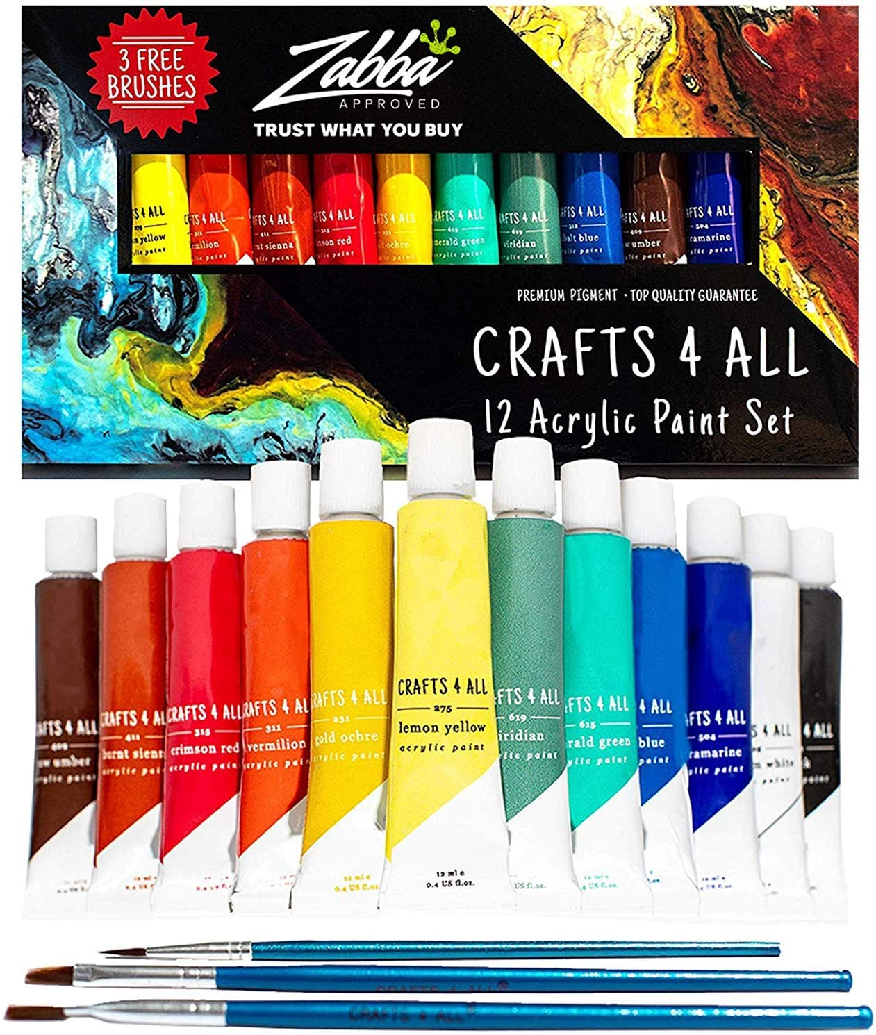 Acrylic Paint Set 12 Colors by Crafts 4 ALL Perfect for ...